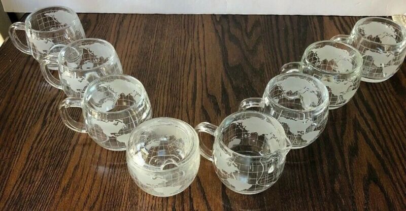 Vintage Nestle Nescafe Glass World Globe Map Coffee 6 Cups Sugar Bowl & Creamer