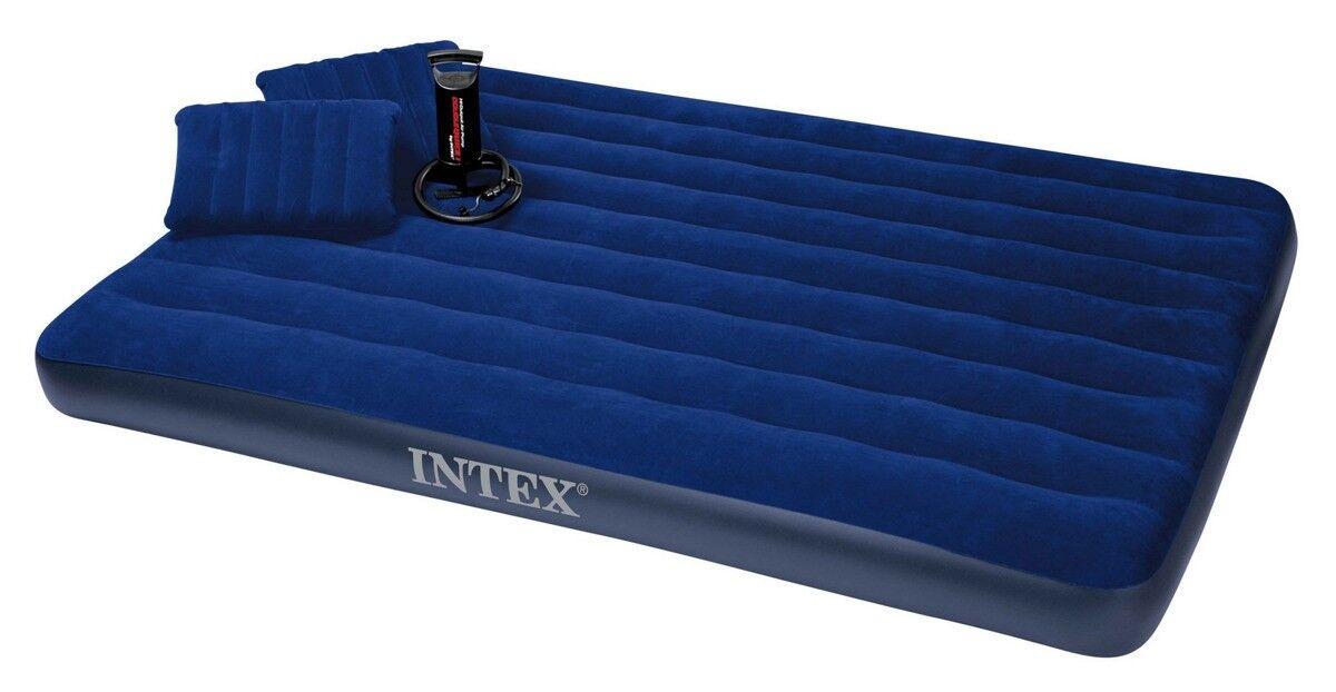 INTEX Luftbett 68765 Luftmatratze 203x152x22cm eingebaute Pumpe Tasche