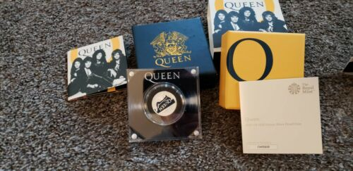 Queen 2020 UK Half-Ounce, 1/2 oz, Silver Proof Coin w/ Display, COA Complete Set