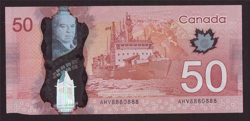 2012 Canada $50 banknote RADAR serial number AHV 8880888