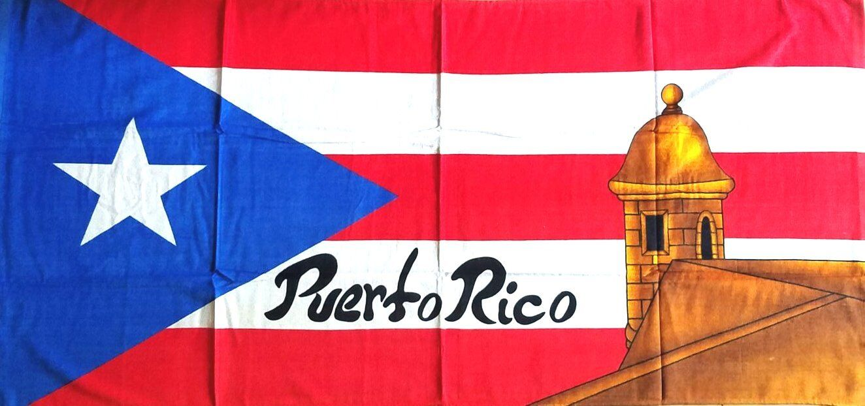 BORICUA FLAG CEMI Puerto Rico Rican 30 x 60 INCHS Beach Towel Cotton Twill