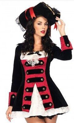 LEG AVENUE Charming Pirate Captain Hook Ruffle Lace Black Velvet Waistcoat Dress
