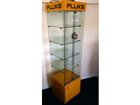 Lockable retail glass display cabinet with light