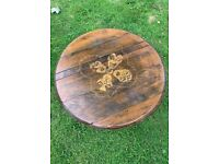 UPCYCLED KISS TRIBUTE WHISKY BARREL TOP COFFEE TABLE