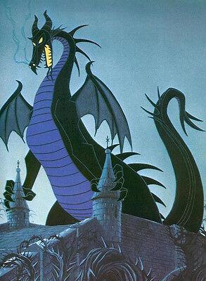 Maleficent Dragon on Castle 8x10 Handmade Craft or Quilt Fabric Block  ()