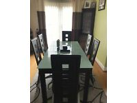 Modern Frosted Glass Extending Dinning Table with 4 Chairs (Optional 6)