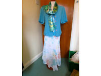 NEW 4 PIECE TEAL MIX WEDDING OUTFIT SIZE 14 SKIRT/JACKET/TOP/SCARF