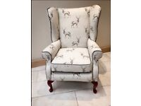 Vintage re-upholstered armchair