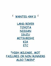 We travel all of scotland, wanted 4x4's