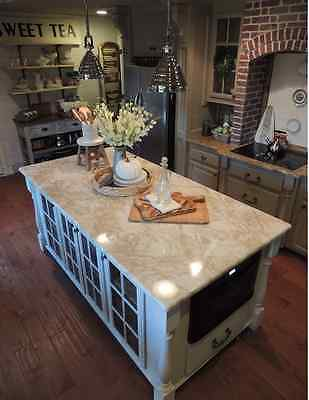 Cream Marble Countertop (Marble Taupe Cream Counter Top Granite LOOK Vinyl Contact Paper Film 6' Skin )