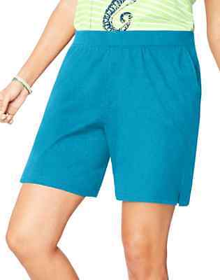 NIP Just My Size Plus Size Pull On Shorts Cotton Knit Blue  2X  3X