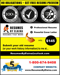 ❤ Professional Resume & Cover Letter:  FREE RESUME PREVIEW!
