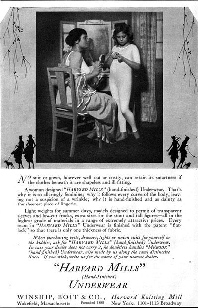 Young Girl in Harvard Mills Underwear HAND-FINISHED Union Suit 1917 Magazine Ad