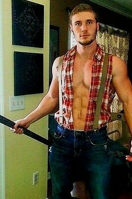 Shirtless Male Muscular Ripped Abs Lumber Jack Hunk Look PHOTO 4X6 D173