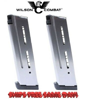 PAIR Wilson Combat 1911 Magazines for 10mm, Full Size,9 Round, Standard Base Pad Full Round Base