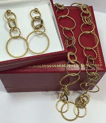 14k Yellow Gold Sterling Silver Artisan Eternity Circle Necklace Earring Lot Set