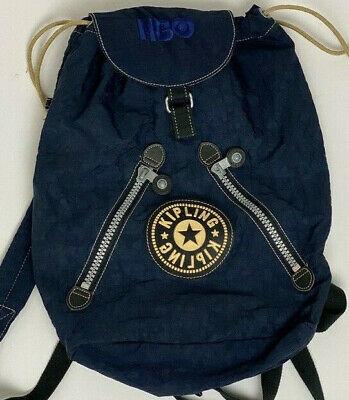 Vintage KIPLING Blue Drawstring Nylon Flap Backpack Bag Purse Zip