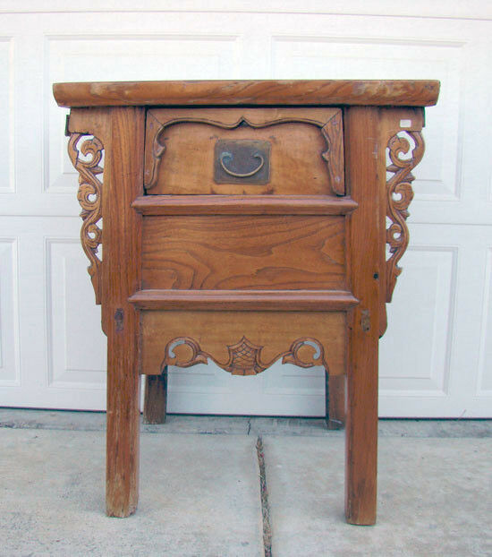 Antique Chinese Elm Hardwood Single Drawer Carved Coffer Table