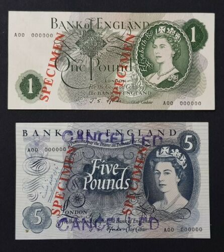 England, Great Britain SPECIMEN £1 & £5,(1966-70) Sign J.S.Fforde A.UNC/RARE