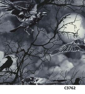 Spooky Night Sky Full Moon Crows cotton fabric Timeless Treasures Halloween 7/8y