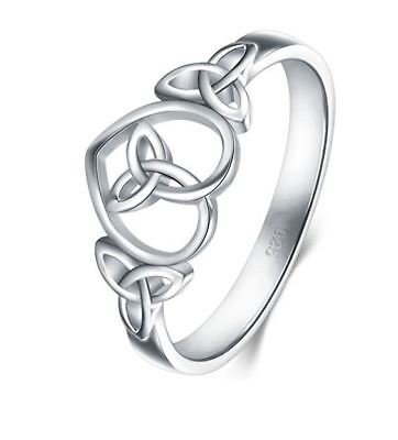 925 STERLING SILVER ETERNITY WEDDING BAND  RING  CELTIC KNOT SIMPLE HEART  NEW - Heart Knot Wedding Band Ring