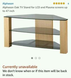 Alphason Oak & Glass Corner TV Stand - for up to 47 inch TV