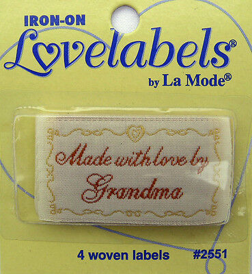 MADE BY GRANDMA Woven Labels (Qty-4)  Iron-On/Sew-In