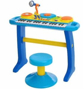 Bruin - Light-Up Keyboard / Piano with Stool - Blue - NEW