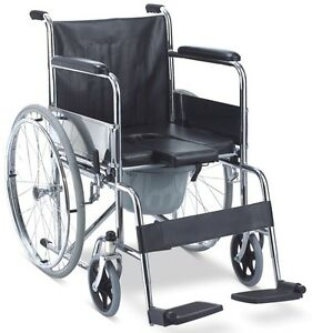 3 In 1 Mobile Shower Commode Wheelchair With Padded Bath Seat And Commode Buc