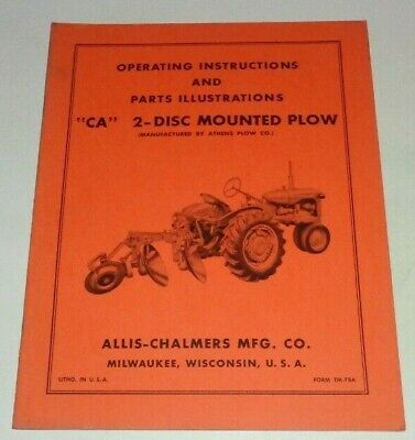 Allis Chalmers Ca 2-disc Mounted Plow Operatorsparts Manual Original Tractor