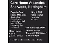 Care Home Vacancies - Sherwood, Nottingham
