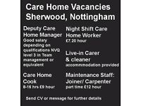 Care Home Vacancies - Sherwood, Nottingham