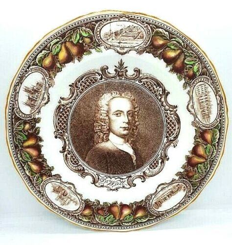 Royal Worcester Memorial Plate Featuring Dr. John Wall; Founder, Self Portrait