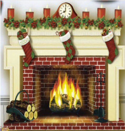 FIREPLACE w/stockings Scene Setter Christmas party wall BACKDROP holiday decor
