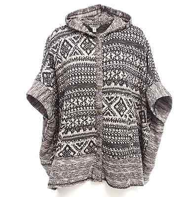 LUCKY BRAND GEO PATERN JACQUARD TERRY HOODED PONCHO SWEATER JACKET 1X 2X 3X Hooded Terry Sweater