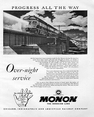"Monon ""Over-night Service"" Railroad Train Metal Sign"