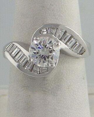 1.00ct DIAMOND ROUND ENGAGEMENT 14K WHITE GOLD SEMI MOUNT SETTING RING
