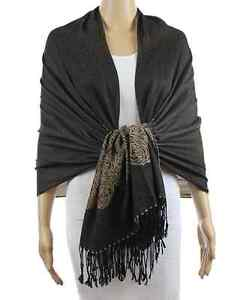 New Womens Two Tone Flower Rose Patten Silk Pashmina Shawl Scarf Stole Wrap