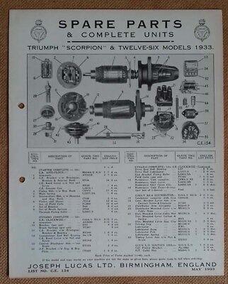 Triumph Scorpion & Twelve-Six  modesl 1933    Lucas Parts List 134