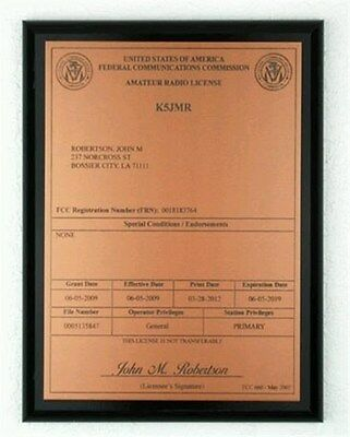 - HAM Radio - Amateur Radio License Call Sign Copper & Black Plaque - *NICE GIFT*
