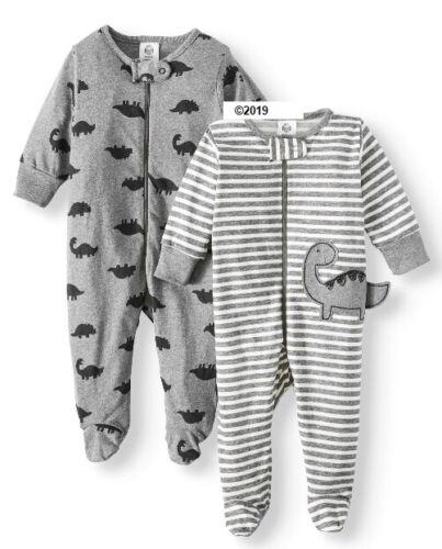 Gerber Baby Boy 2-Piece Organic Gray Dinosaurs Sleeps-N-Play Size 3-6M