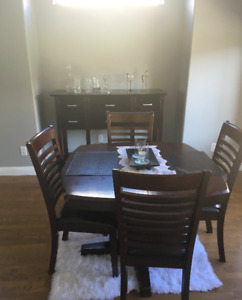 Solid wood butterfly table and hutch