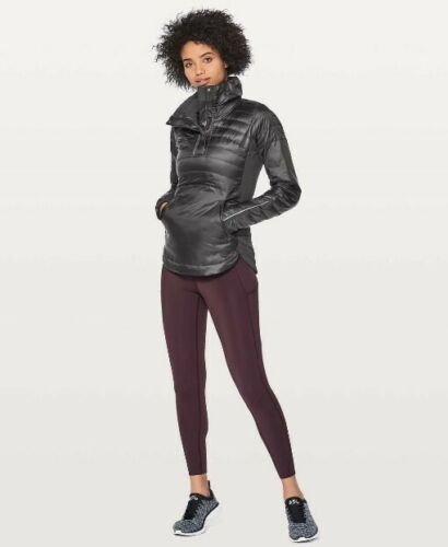 L003 NWT LULULEMON DOWN FOR A RUN PULLOVER II WOMEN JACKET SIZE 2, 4 BLACK $168
