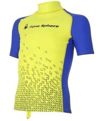 Uv Rash Shirt (Aqua Sphere BIX Rash Guard Kinder UV-Shirt (green) NEU !! Gr 128/140/152/164/176)