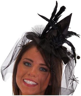 Mini Witch Hat with Feathers on Headband Halloween Adult One Size