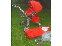 Stokke xplory v3 red standard seat stroller with EXTRAS