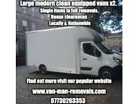 Full or small removals, disposals, long distance, short notice, same day, van man porter hire