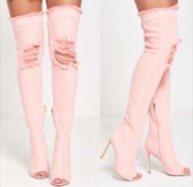 New denim over knee boots