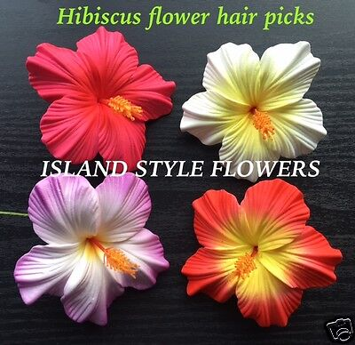 Hawaiian HIBISCUS FLOWER Foam HAIR PICKS  Set of 4 Colors: Pink Purple Red White