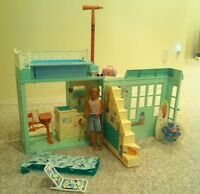 BARBIE BEACH BUNGALOW, FISHER PRICE DOLL HOUSE, HORSE TRAILER